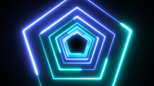 Blue Pentagon Technology Looping 3D Room Background