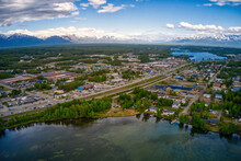 Aerial View Of Downtown Wasilla, Alaska During The Summer