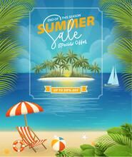 Summer Sale Poster With Seaside View Background