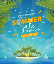 Summer Sale Poster With Tropical Island View Background