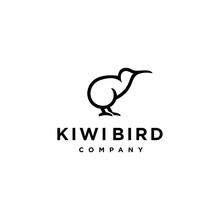 Abstract Minimal Kiwi Bird Logo Icon Design In Trendy Simple Line Style
