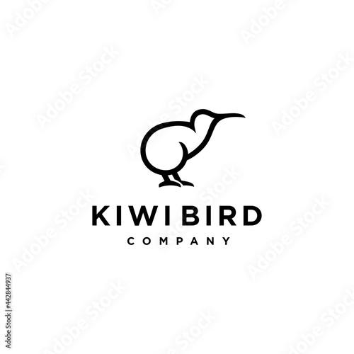 Abstract minimal kiwi bird logo icon design in trendy simple line style Fototapet