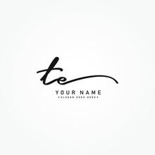 Initial Letter TE Logo - Handwritten Signature Logo