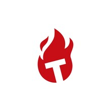 T Letter Fire Flame Logo Vector Icon Illustration