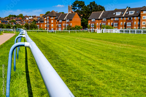 Obraz na plátně The is Warwick racecourse for steeplechase national hunt fence and hurdles horse racing