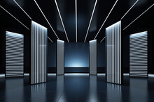 Elegant Futuristic Light And Reflection With Grid Line Background. Fashion Podium. Catwalk Runway Stage. Night Club Empty Room Interior, Tunnel Or Corridor, Glowing Panels. 3d Render