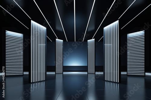 Fototapeta Elegant futuristic light and reflection with grid line background