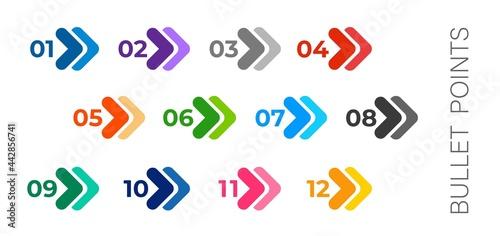 Valokuva Colourful arrows set isolated on white