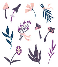 Magic Plants. Witchcraft Things. Set Of Magic Mushrooms Flowers And Herbs. Ingredients For Magical Potions. Shamanic And Occult Objects. Halloween Decor. Vector Floral Illustration