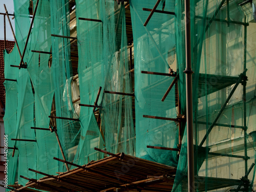 repair of the facade of the house Fototapeta
