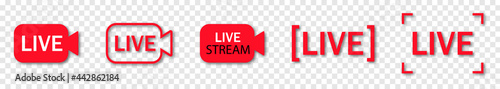Fotografie, Obraz Collection of live streaming icons