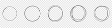 Set Of The Hand Drawn Scribble Circles. Vector Element Isolated On Transparent Background