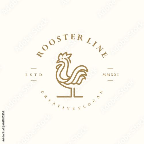 Billede på lærred Hipster Rooster Vintage Retro Logo Minimalist