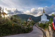 The Last Shining Sun At Phra That Pha Son Kaew Temple At Khao Kho Phetchabun Thailand.