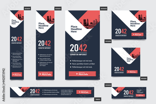 Fototapeta City Background Corporate Web Banner Template in multiple sizes