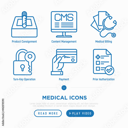 Photo Medical thin line icons set: payment, prior autorization, medical billing, turn-key operation, product consignment, content management