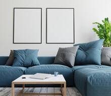 Two Mockup Poster Frames In Modern Interior Background. 3D Render. 3D Illustration.