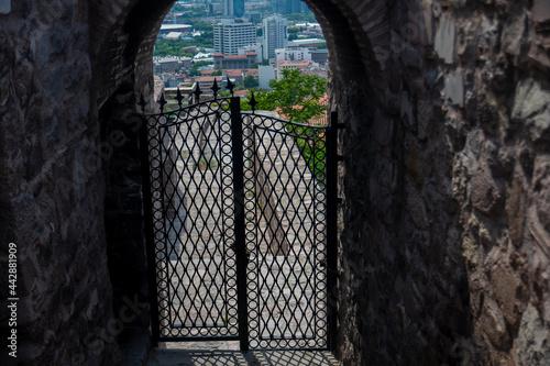 Fototapeta Cold iron inlaid double-winged door in Ankara Castle