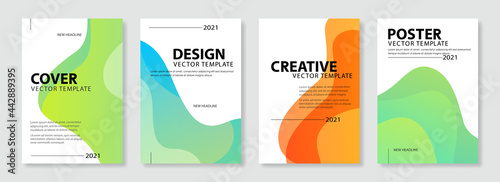 Canvas Set of colorful cover design template