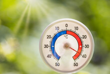 Outdoor Thermometer Shows Hot Summer Temperature
