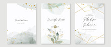Abstract Art Background Vector. Luxury Invitation Card Background With Golden Line Art Flower And Botanical Leaves, Organic Shapes, Watercolor. Vector Invite Design For Wedding And Vip Cover Template.