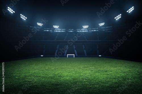 Photo Professional soccer field stadium background