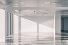 Empty Office Hall Lit By Sunlight