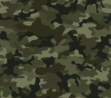 Abstract Woodland Camouflage Texture, Vector Military Pattern, Shape Pattern.