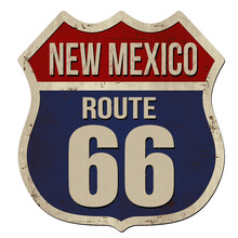 New Mexico, Route 66 Vintage Rusty Metal Sign