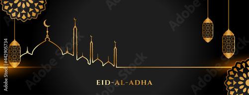 Canvas islamic holy eid al adha festival golden and black banner