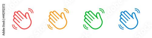 Photo Waving hands icons set isolated on white background