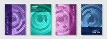 Corporate Magazine Title Pages Mockups. Digital Presentation Circles Spiral Motion Vector