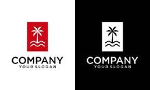 Palm Beach Vintage For Hotel / Restaurant / Vacation Logo Design Inspiration. Palm Tree Summer Logo Template Vector Illustration