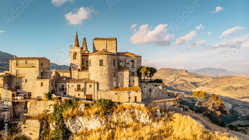Fotografiet Aerial view of medieval stone village,the highest village in Madonie mountain range,Sicily,Italy