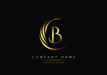 Alphabet Letter B Monogram Logo, Gold Color Elegant Classical