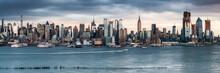 Manhattan Skyline Panorama Along The Hudson River, New York City, USA