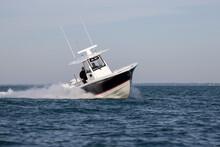 Center Console Boat Cruising Fast.