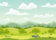 Spring Landscape With Green Grass, Hills, Blue Sky With Clouds. Nature Countryside Background In Flat Cartoon Style. Beautiful Banner With Field And Tree