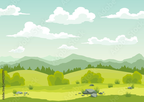 Fotografiet Spring landscape with green grass, hills, blue sky with clouds