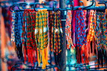 Close Up View Of Colorful Handmade Bracelets Assortment For Sell