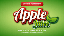 Apple Juice Editable Text Style Effect Illustrator. Vector Design Template For Logo Design