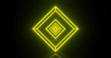 Image Of Multiple Glowing Neon Green Diamond Shapes Moving On Seamless Loop