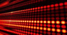 Rows Of Red Led Light Diodes Glowing And Darkening On Blakc Background