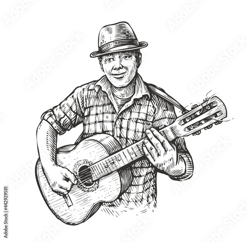 Obraz na plátne Man playing guitar. Country music in sketch vintage style