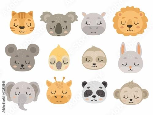 Fototapeta premium Cute Hand drawn animals vector set. Vector illustrations for nursery design, poster, birthday greeting cards. Lion, panda, parrot, mouse, koala, sloth, rabbit, tiger, monkey, hippo, elephant, giraffe
