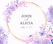 Save The Date. Watercolor Purple Floral With Golden Circle