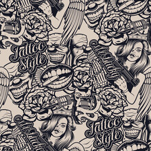 Black And White Pattern On The Tattoo For White. Ideal For Printing For Fabric, Wall Decoration, And Many Other Uses