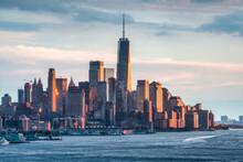 Lower Manhattan Skyline At Sunset, New York City, USA