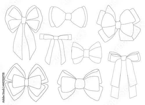 Fotografia Bows graphics black and white coloring vector illustration