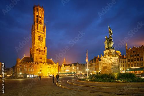 Vászonkép Belfry tower and Grote markt square in Bruges, Belgium on dusk in twilight